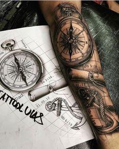 Forearm Sleeve Tattoos, Best Sleeve Tattoos, Tattoo Sleeve Designs, Tattoo Designs Men, Compass Tattoo Forearm, Sleeve Tattoo Men, Best Forearm Tattoos, Compass And Map Tattoo, Nautical Compass Tattoo