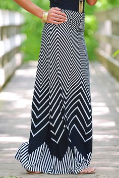 Show Me The Chevron Maxi Skirt - Black from Closet Candy Boutique