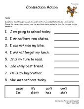 Great blog for contraction activities