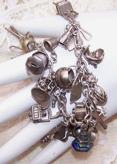 1940s STERLING SILVER Charm Bracelet with 25 by RobinsNestMidwest, $195.00