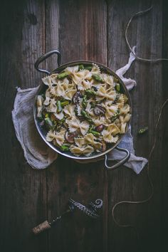 Creamy Bow-Tie Pasta with Mushrooms & Asparagus | Adventures in Cooking