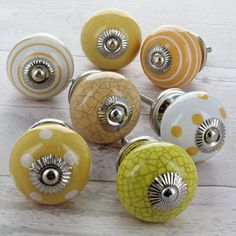 Yellow Ceramic Door Knobs Cupboard Drawer Pull Handles by G Decor, the perfect gift for Explore more unique gifts in our curated marketplace. Kitchen Cupboard Handles, Kitchen Drawer Pulls, Cupboard Door Knobs, Cupboard Drawers, Yellow Cupboards, Yellow Drawers, Dresser Handles, Furniture Handles, Kitchen Furniture