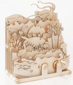 Timberkits Ocean Motion Self-Assembly Wooden Construction Moving Model Kit - Kunstunterricht - Spielzeug Kinetic Toys, Kinetic Art, Wood Projects, Projects To Try, Laser Cutter Projects, Hobby Kits, Wall Clock Design, Wooden Art, Wooden Puzzles