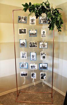 Graduation Photo Displays, Photo Display Wedding, Party Venues, Wedding Venues, Diy Wedding, Wedding Photos, Party Pictures, Hanging Photos, Frame Display