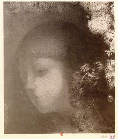 "Odilon Redon ~ Head of a Child with Flowers, 1897    ""It is precisely from the regret left by the imperfect work that the next one can be born."" -Odilon Redon"