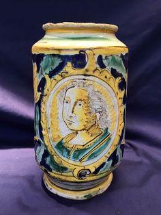 $29,000.00 - Antique Majolica Apothecary Albarello Pottery Circa. 17th C. w/COA App. $50K