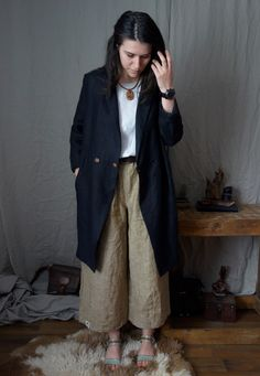 Loose Linen Blouse and extra wide linen pants with oversized summer coat, the most comfortable combination! By Linen Old Ways Summer Coats, Wooden Necklace, Wide Pants, Linen Jackets, Sartorialist, Linen Blouse, Slow Fashion, Handmade Shop, Customized Gifts