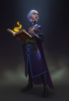 f Half Wood Elf Wizard Robes Cloak Magic Book Pen Underdark Tower Spell Researcher by Chao Teng Zhao lg Character Design References, Game Character, Character Concept, Concept Art, Dnd Characters, Fantasy Characters, Female Characters, Fantasy Character Design, Character Design Inspiration