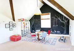 5 Ways to Get This Look: Playroom with a Chalkboard Wall – Infarrantly Creative Hiya Papaya Chalkboard Playroom Inspiration Playroom Storage, Attic Playroom, Playroom Design, Attic Storage, Attic Organization, Attic Closet, Home Design, Attic Design, Attic Renovation