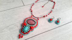Red and Blue Handmade Necklace-Gemstone Collars-Seed Bead embroidery-Red Seed Beeds-Fabric Bohemian Jewellery-White Pearls-Women famousgifts by GoldGallery on Etsy