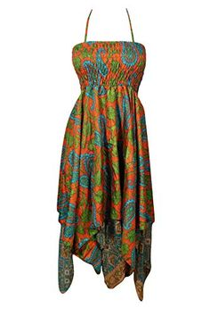 Bohemian Chic Designs Womens 2 in1 Skirt Dress Printed Handkerchief Hem Recycled Silk Two Layer S/M Orange, Green: Amazon.com.au: Fashion