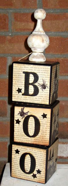 Halloween Blocks with Vintage Wood