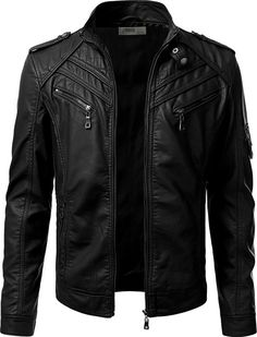 iDarbi Mens Prime PU Leather Skinny Fit Rider Jacket