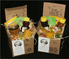 Honey Gift Boxes Baskets. Would be great for x-mas gifts this year.