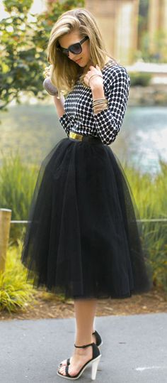 Amore Tulle Midi Skirt in Black I'd change the shoes up tho