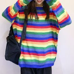 Round Neck Rainbow Stripe Pullover Sweater sold by Violetlace Boutique. Shop more products from Violetlace Boutique on Storenvy, the home of independent small businesses all over the world. Tie Dye Rainbow, Rainbow Outfit, Kawaii Clothes, Kawaii Fashion, Grunge Fashion, Pullover Sweaters, Rainbow Stuff, Cool Outfits, Br Style