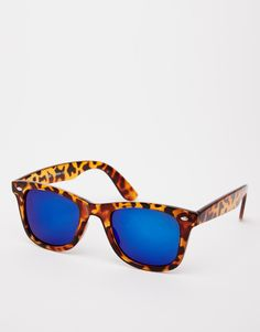 ASOS Retro Sunglasses With Blue Flash Lens