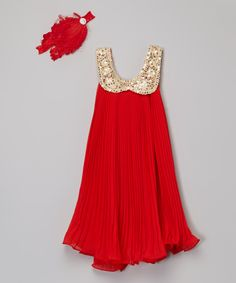 Another great find on #zulily! Miss Fancy Pants Red & Gold Sequin Dress & Headband - Infant, Toddler & Girls by Miss Fancy Pants #zulilyfinds