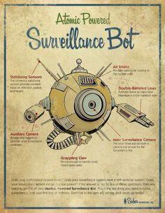 Items similar to Retro Surveillance robot Art Print - vintage toy advertisement on Etsy Retro Kunst, Retro Art, Pub Vintage, Retro Vintage, Image Deco, Fallout Art, Arte Robot, Steampunk, Science Fiction Art