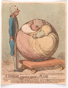 1792 January 3rd. A Sphere, Projecting Against a Plane . By James Gillray (British, Chelsea 1756–1815 London) Publisher: Hannah Humphrey (London) . Hand-colored etching Credit Line:Gift of Philip van Ingen, 1942. metmuseum.org suzilove.com