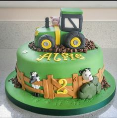 cakes / Farm tractor and animals Farmyard cakes / Farm tractor and animals. Farmyard cakes / Farm tractor and animals. Tractor Birthday Cakes, 2 Birthday Cake, Tractor Cakes, Birthday Cakes For Boys, 20th Birthday, Birthday Ideas, Red Tractor, Dinotrux Cake, Farm Animal Cakes