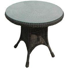 """North Cape Wicker Universal 30"""" Dining Table with Glass, wicker central"""