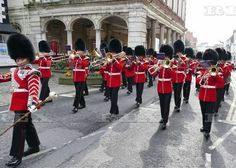 Changing of the Guard Windsor Castle, Britain - 03 Apr 2016 The Cold Stream Guards march through the streets of Windsor to the castle on a warm sunny April morning 3 Apr 2016 Windsor Castle, Elizabeth Ii, Sunnies, Britain, March, Cold, Street, Sunglasses, Shades