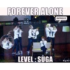 Haha I'm on the same level as Suga. Guess we're both forever alone . And what's J-Hope doing? #suga