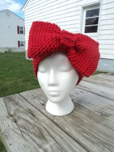 Womens Big Bow Knitted Headband, ear warmer on Etsy, $25.00