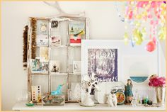 Home Lookbook - Urban Outfitter- shabby chic frame to welcome guests at wedding with vintage welcome postcards, old family pictures
