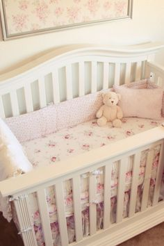 Use decor to bring in color when keeping the #nursery #white!  #pink #roses
