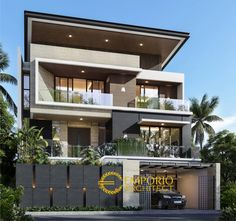 Bambang Private House Modern Design - Jakarta- Quality house design of architectural services, experienced professional Bali Villa Tropical designs from Emporio Architect. Best Modern House Design, Modern Exterior House Designs, Modern House Facades, Modern Villa Design, Contemporary House Plans, 2 Storey House Design, Bungalow House Design, House Outside Design, House Front Design