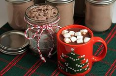 Double Chocolate Hot Cocoa Mix with gift tags. An easy mix that makes instant rich hot cocoa. Always a popular gift jar. | from The Yummy Life