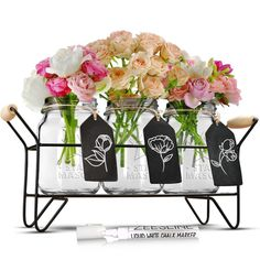 Set of 3 Glass Mason Jars on Metal Caddy with Chalkboard Tags and Chalk Marker, Utensils Organizer, Flower Vases, Candle Holders, Serving Dish, All-Around Tabletop Caddy ** Trust me, this is great! Click the image. : Storage and Organization
