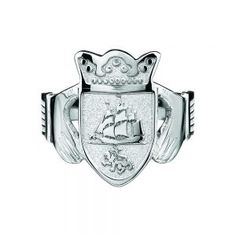 Gents Claddagh Style Ring bearing Coat of Arms – Celtic Jewelry by Boru ® Irish Wedding Rings, Irish Rings, Celtic Rings, Mens Claddagh Ring, Claddagh Rings, Sterling Silver Flowers, Sterling Silver Bracelets, Silver Jewelry, Gold Jewellery