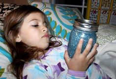 "WE LOVE THIS. It's called a ""Calm Down Jar"" and it's filled with glitter. Children shake the jar to get their frustrations out and then they're asked to wait until the glitter has all settled in the bottom. By the time the glitter settles, hopefully so have they.  To make, just fill 1/2 of a jar (preferably plastic) with glitter (maybe a color they like) and the rest with water. Screw lid on tight and you're all set!! WE KNOW SOME ADULTS THAT COULD USE THIS!"