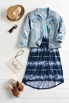 Say hello to easy summer style with a breezy high-low dress. Add a classic denim jacket to easily move in and out of the inevitable A/C chill. Find this everyday look from SONOMA Goods for Life only at Kohl's.