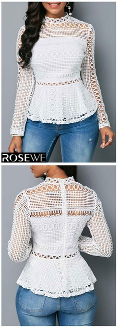 Long Sleeve Zipper Back White Crochet Blouse Give your wardrobe stylish blouse f. Stylish Tops For Girls, Trendy Tops For Women, Crochet Top Outfit, Crochet Blouse, Casual Outfits, Cute Outfits, Fashion Outfits, Mode Style, African Fashion