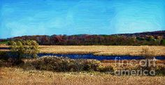 An Autumn day in Wisconsin's Horicon Marsh painted in digital oil.  By Mary Machare.
