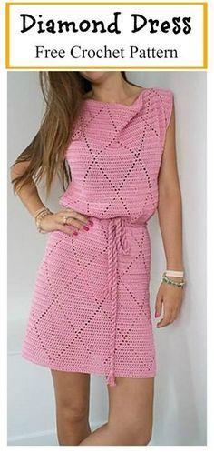 Diamond Dress Free Crochet Pattern #freecrochetpatterns #Dress