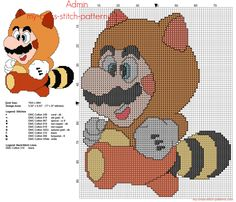Super Mario Bros Tanooki Suite free cross stitch pattern 77 x 97 stitches 8 DMC threads