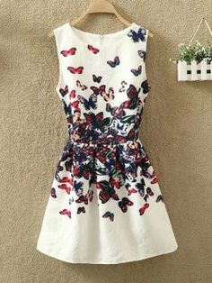 White Butterfly Printed Retro Jacquard Summer Sleeveless A-Line Vest Mini Dress