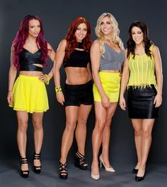 Sasha Banks and Becky Lynch, Charlotte Flair and Bayley. (All were members of NXT/WWE org. All were or are champions, except Becky. Hottest Wwe Divas, Wwe Nxt Divas, Charlotte Wwe, Charlotte Flair, Wrestling Divas, Women's Wrestling, Pamela Rose Martinez, Aj Styles Wwe, Becky Wwe