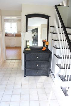 Shine Your Light: Power of Paint -- wicker dresser and wood mirror.