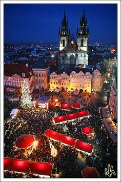 Christmas markets at Old town square, Prague, Czech Republic