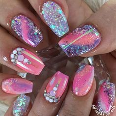 Experimentation For Your Coffin Nail Art ❤️ 20 Amazing Short Coffin Nails Designs You Have To Try❤️ See more: naildesignsjourna. Watermelon Nail Designs, Watermelon Nails, Cute Nails, My Nails, Purple And Pink Nails, Purple Colors, Pink Bows, Sunset Colors, Purple Glitter