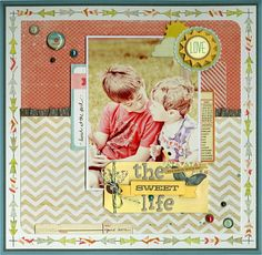 Layout by Julie Bonner. Cute idea for a single photo page. A supporting right-hand page could hold more photos, date, the story, etc.