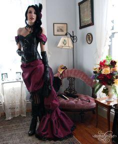 Luscious in Leather  Taffeta Steampunk Ballgown  Made to