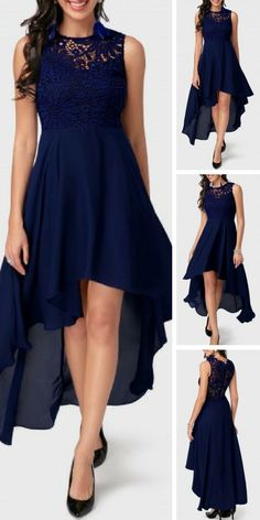 Navy Blue Sleeveless Lace and Chiffon High Low Dress