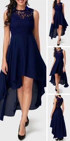 Navy Blue Sleeveless Lace and Chiffon High Low Dress